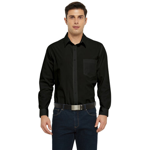 Men's Black Long Sleeve Pocket Shirt