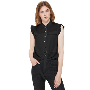 Ladies Black Frill Detail Shirt