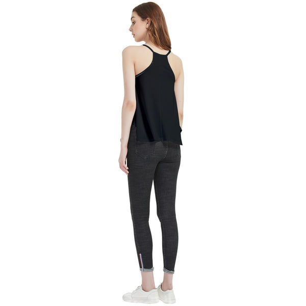 Ladies Black Flowy Camisole Tank Top