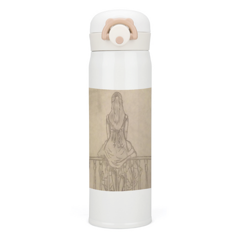 "Melainie - ""Shadow of Secrets"" - Thermal Insulated Water Bottle 17oz, Stainless Steel Vacuum Insulated Mug, White"