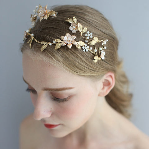 Shaped Asymmetric Handmade Bridal Head Jewelry