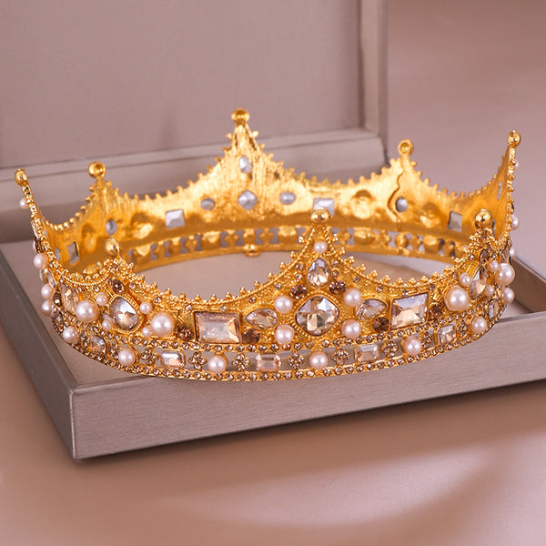 Crown Headdress Full Circle Diamond Pearl New Retro