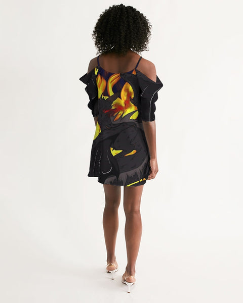 "Dragon Torrick - ""Flame"" -  Ladies Open Shoulder A-Line Dress"