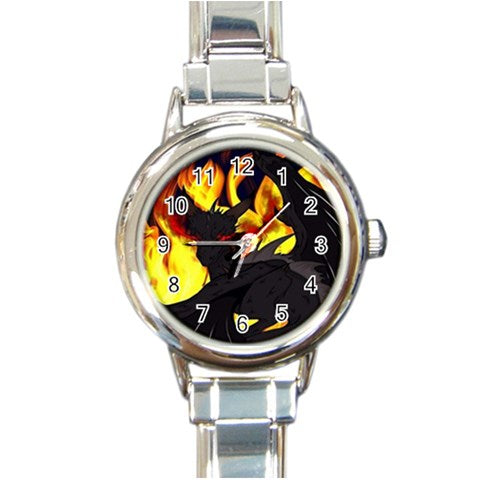 "Dragon Torrick - ""Flame"" - Round Italian Charm Watch"