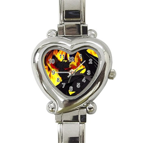 "Dragon Torrick - ""Flame"" - Heart Italian Charm Watch"