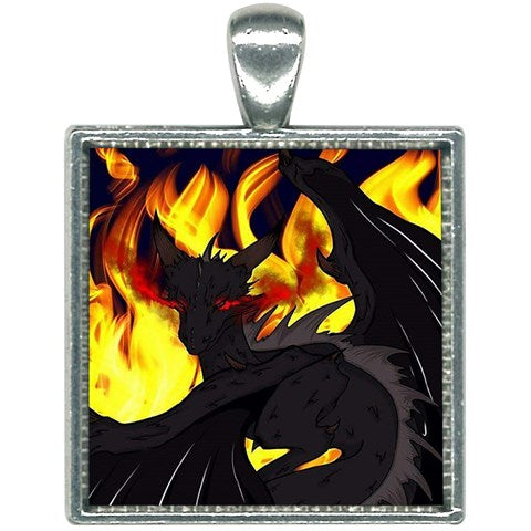 "Dragon Torrick - ""Flame"" - Square Necklace"