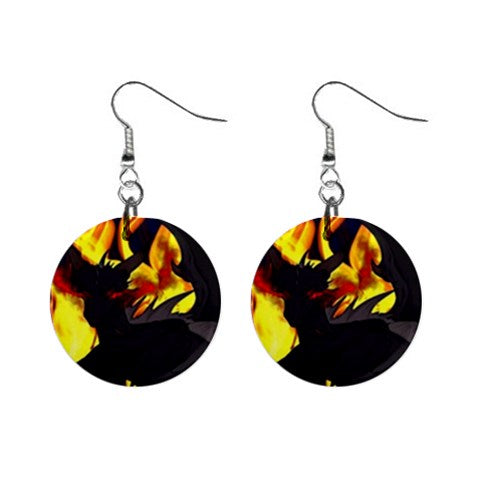 "Dragon Torrick - ""Flame"" - 1"" Button Earrings"