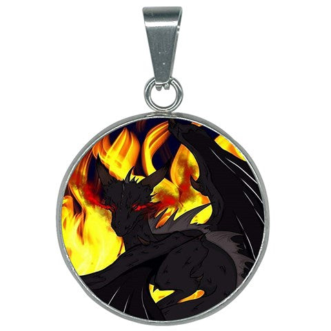 "Dragon Torrick - ""Flame"" - 25mm Round Necklace"