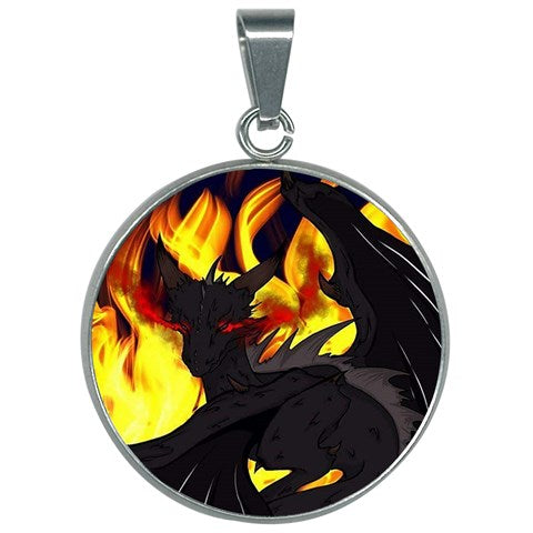 "Dragon Torrick - ""Flame"" - 30mm Round Necklace"