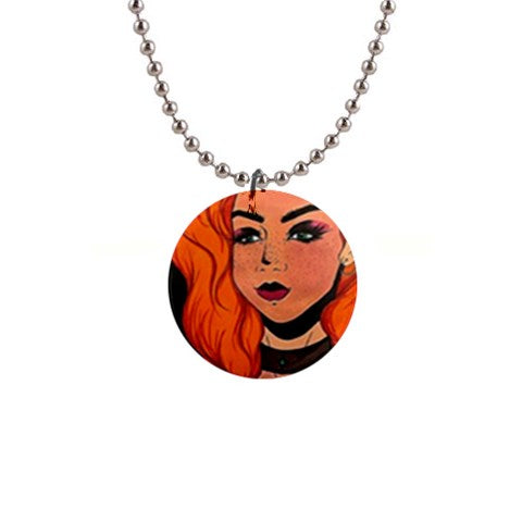 "Cythia - ""Fire"" - 1"" Button Necklace"
