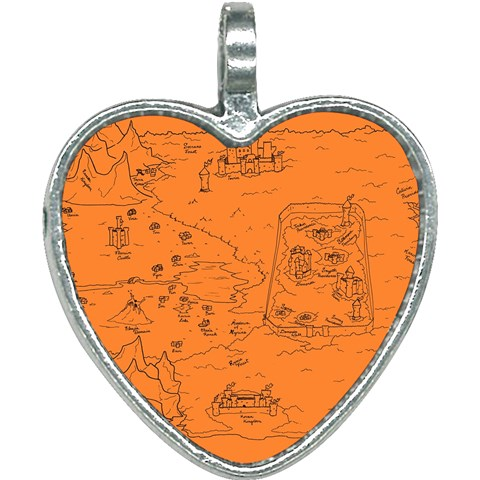 TCoE - Trindavin Map 'parchment' - Heart Necklace
