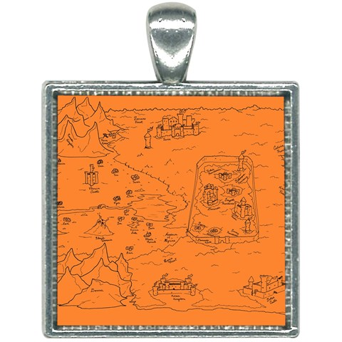 TCoE - Trindavin Map 'parchment' - Square Necklace