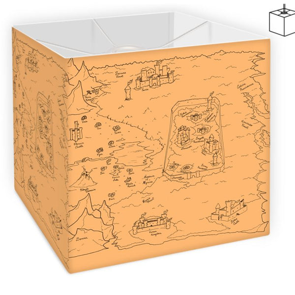 TCoE - Trindavin Map 'parchment' - Square Lamp Shade