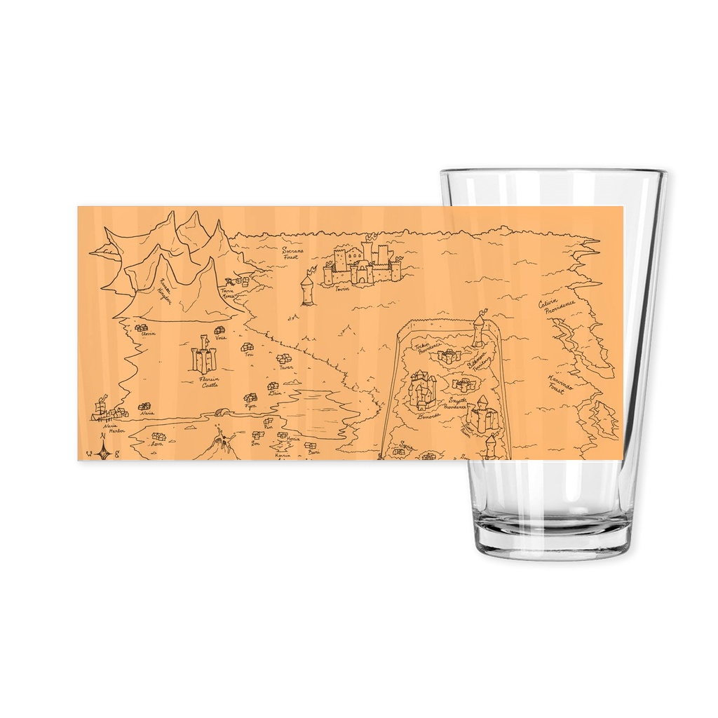 TCoE - Trindavin Map 'parchment' North - Pint Glasses