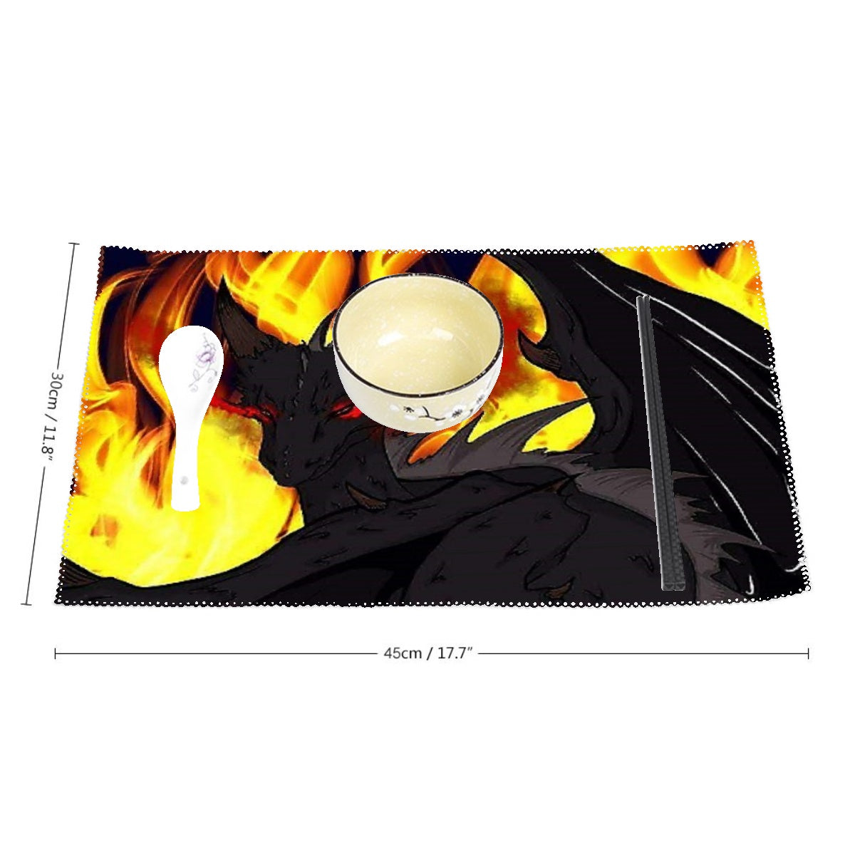 "Dragon Torrick - ""Flame"" - Heat-Resistant Placemats, 4 Sheets of Per Set"