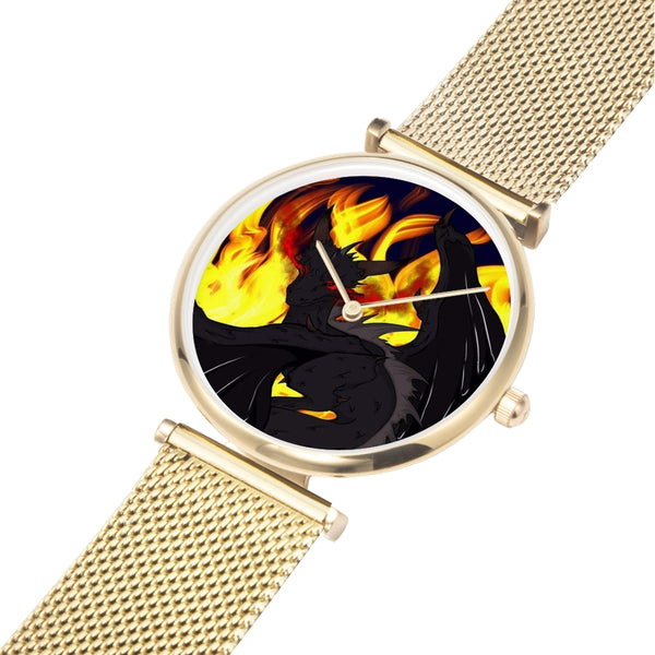 "Dragon Torrick - ""Flame"" - Gold, Silver, Rose Gold Steel Strap Water-Resistant Quartz Watch"