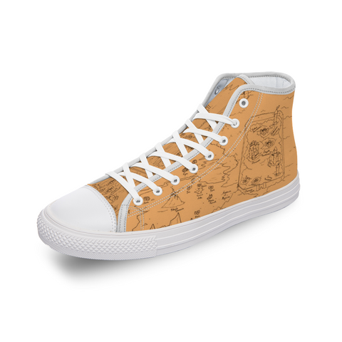 TCoE - Trindavin Map 'parchment' - [Mirror Effect] Comfortable Canvas High Top Shoes for Men Women