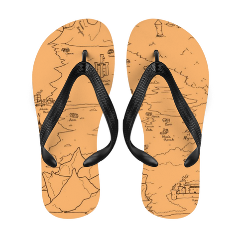 TCoE - Trindavin Map 'parchment' West - Adult Flip-Flops