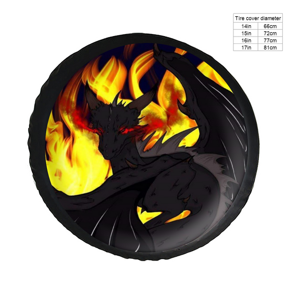 Dragon Torrick - Leather Tire Covers, Spare Tire Cover for Jeep Trailer RV SUV 14 15 16 17Inch, Waterproof Antifouling and Abrasion Resistant Wheel Cover