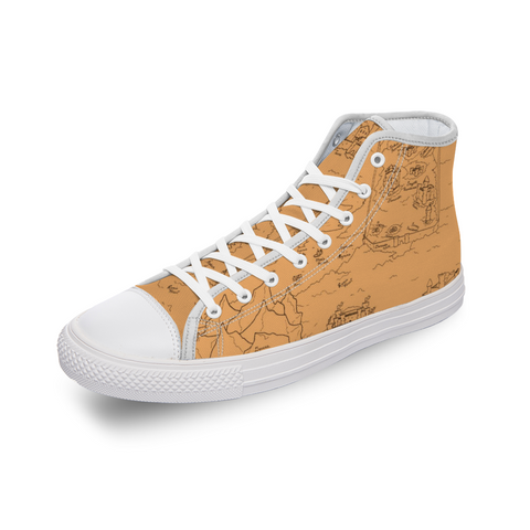 TCoE - Trindavin Map 'parchment' - Comfortable Canvas High Top Shoes for Men Women