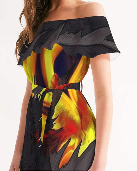 "Dragon Torrick - ""Flame"" -  Ladies Off-Shoulder Dress"
