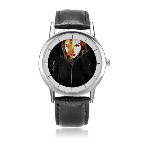 "Ethia - ""Crimson Glare"" - Unisex Double-Layer Concise Dial Water-Resistant Quartz"