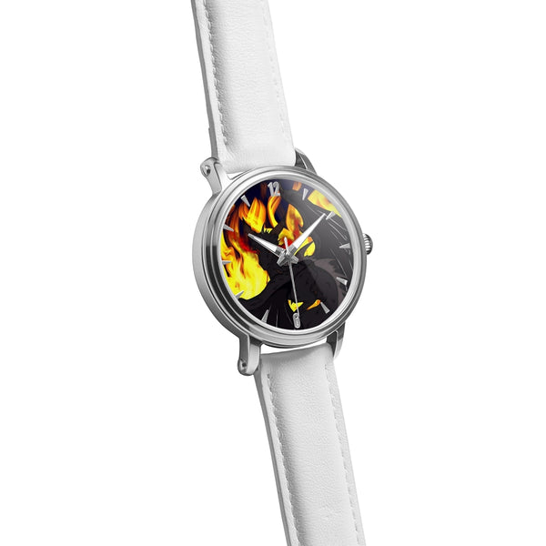 "Dragon Torrick - ""Flame"" - Genuine Leather Strap Water-Resistant Automatic Watch (Silver)"