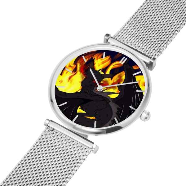 "Dragon Torrick - ""Flame"" - Steel Strap Water-Resistant Quartz Watch (With Indicators)"