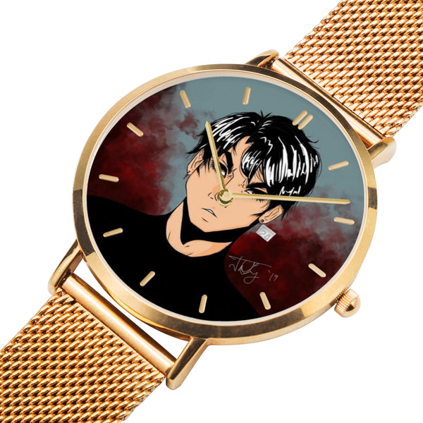 "Torrick - ""brooding boi"" - Rose Gold / Black / Silver Type New Updated Steel Water-Resistant Quartz Watch (With Indicators)"