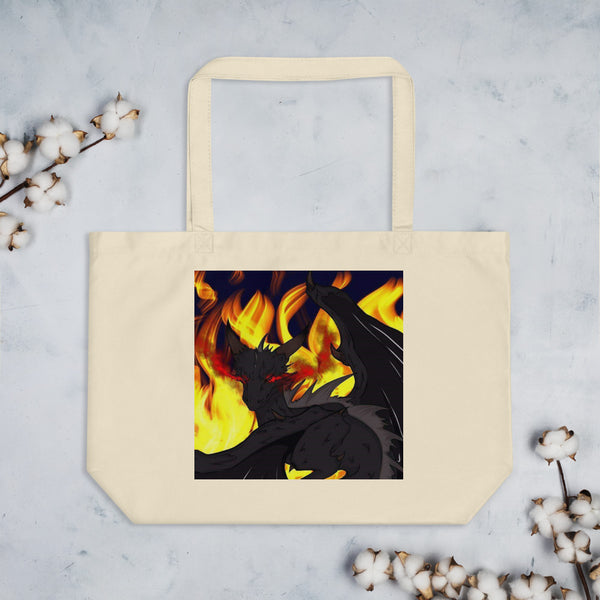 "Dragon Torrick - ""Flame"" - Large organic tote bag"