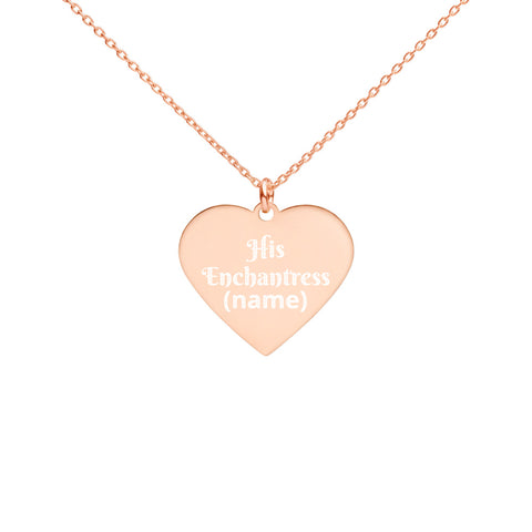 "TCoE - ""His Enchantress"" - Personalize Name - Engraved Silver Heart Necklace"