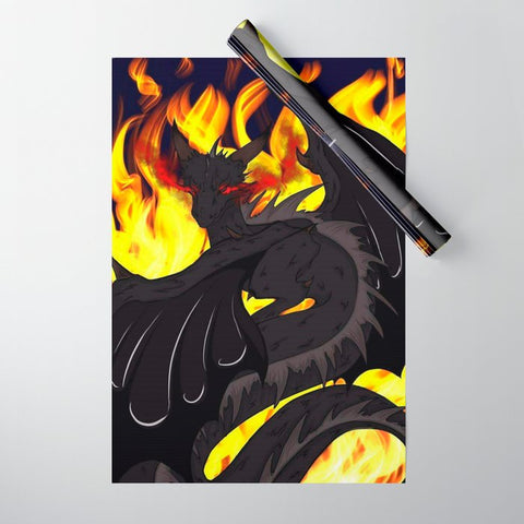 "Dragon Torrick - ""Flame"" - Wrapping Paper - Gift Wrap (Pack of Five)"