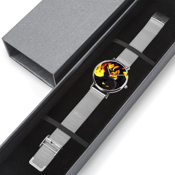 "Dragon Torrick - ""Flame"" - Steel Strap Water-Resistant Perpetual Calendar Quartz Watch"