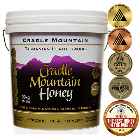 Cradle Mountain leatherwood honey, 20kg tub