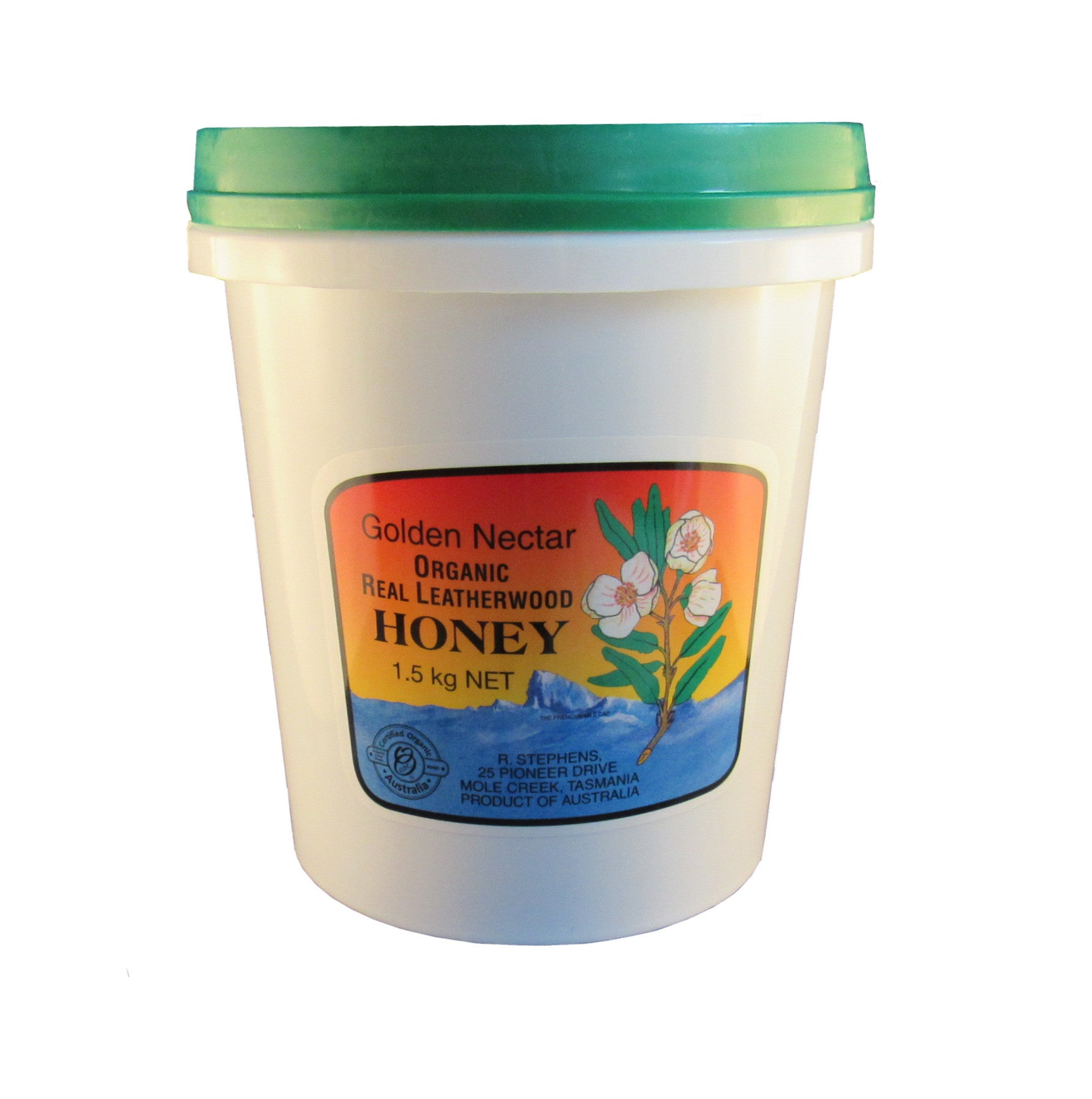 Leatherwood honey, organic, R Stephens, 1.5kg tub