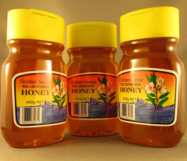 Leatherwood honey, organic, R Stephens, 400gms squeeze bottle