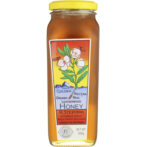 Leatherwood honey, organic, R Stephens, 500gms-bottle