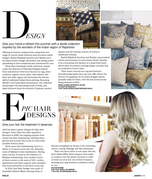 Style Magazine January Edition featuring Rachel Elizabeth Interiors & Textiles