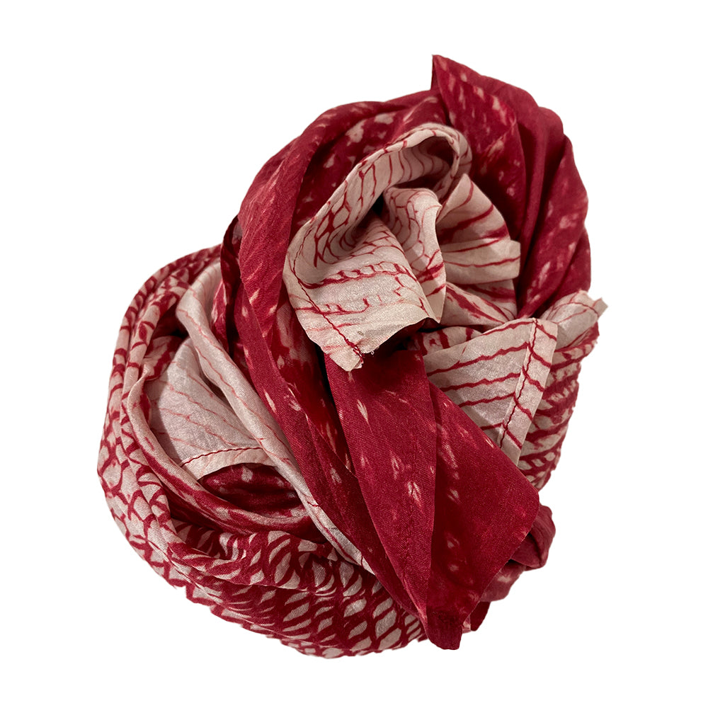 OVERSIZED HAND SHIBORI DYED SILK SCARF - CHERRY WINE