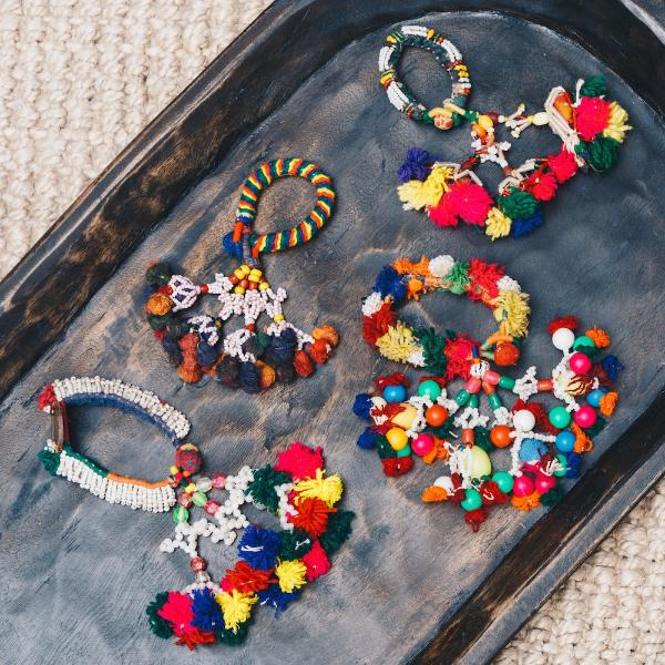 Colourful key rings and tassels handmade designed by Rachel Elizabeth Interiors & Textiles