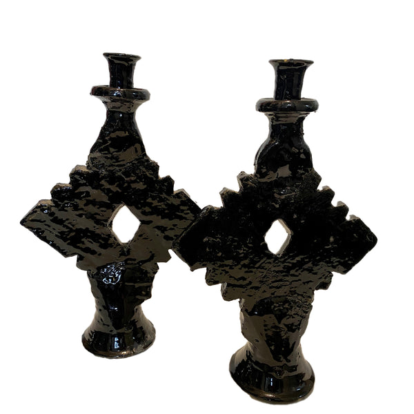 TAMEGROUTE CERAMIC CANDLE HOLDERS - S/2 - BLACK