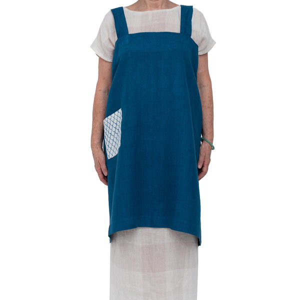 Linen Pinafore Apron w/ Block Printed Pocket