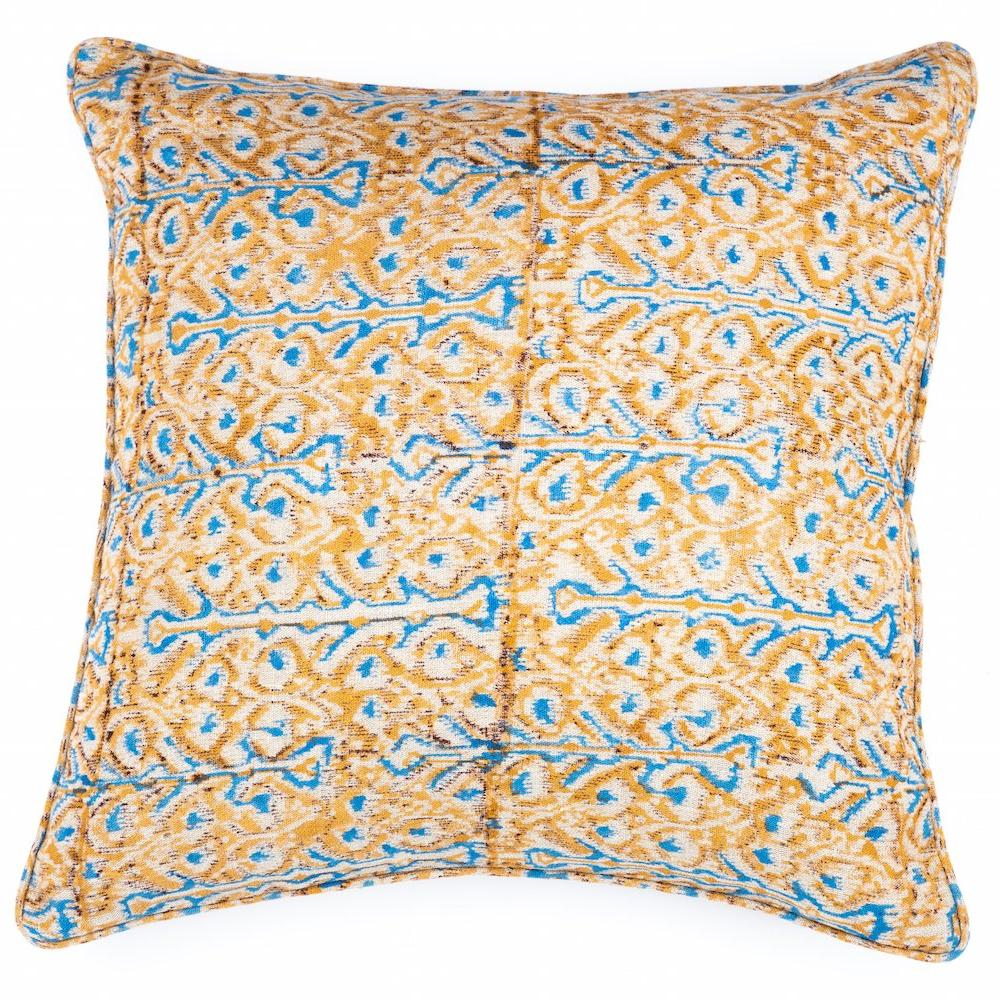 Yellow and blue hand block printed cushion. The inspiration behind the colour palette and design for the Havily cushion was nature and the earthy mineral tones of the deserts in Rajasthan, India. Designed by Rachel Elizabeth Interior Design and Textiles in Brisbane Queensland Australia