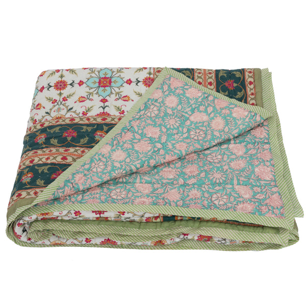 HAND BLOCK PRINTED COTTON GOA BED QUILT - Double