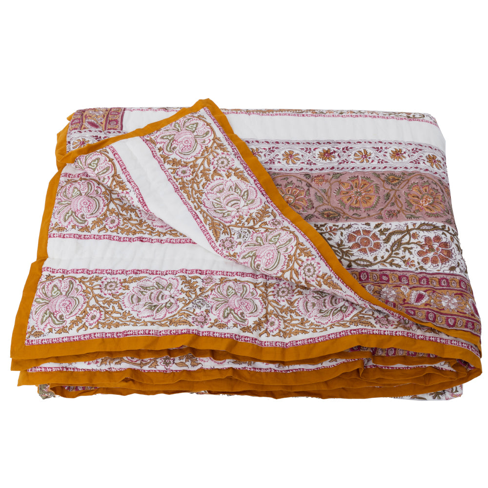 HAND BLOCK PRINTED COTTON JAIPUR PINK BED QUILT - Double