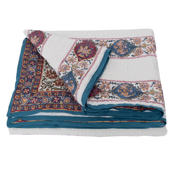 HAND BLOCK PRINTED COTTON MAHARANI  BED QUILT - Double