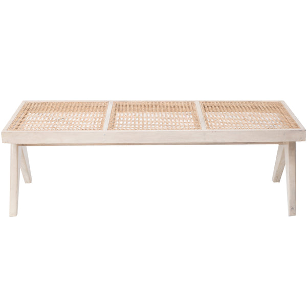 CANE BENCH - GLOSSY WHITE WASH