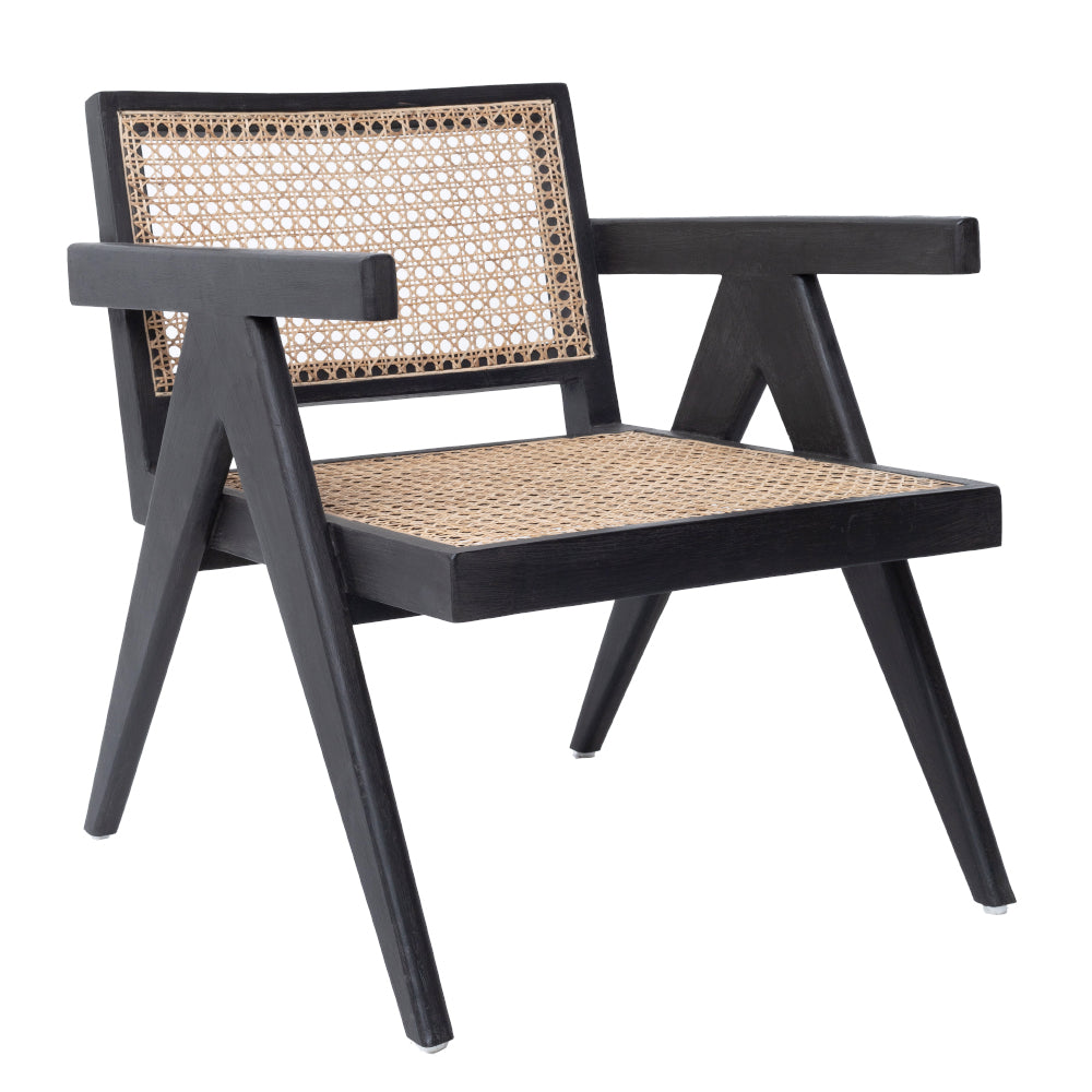 CANE ARM CHAIR - GLOSSY BLACK/GREY WASH