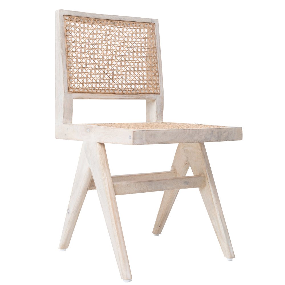 CANE DINING CHAIR - WHITE WASH