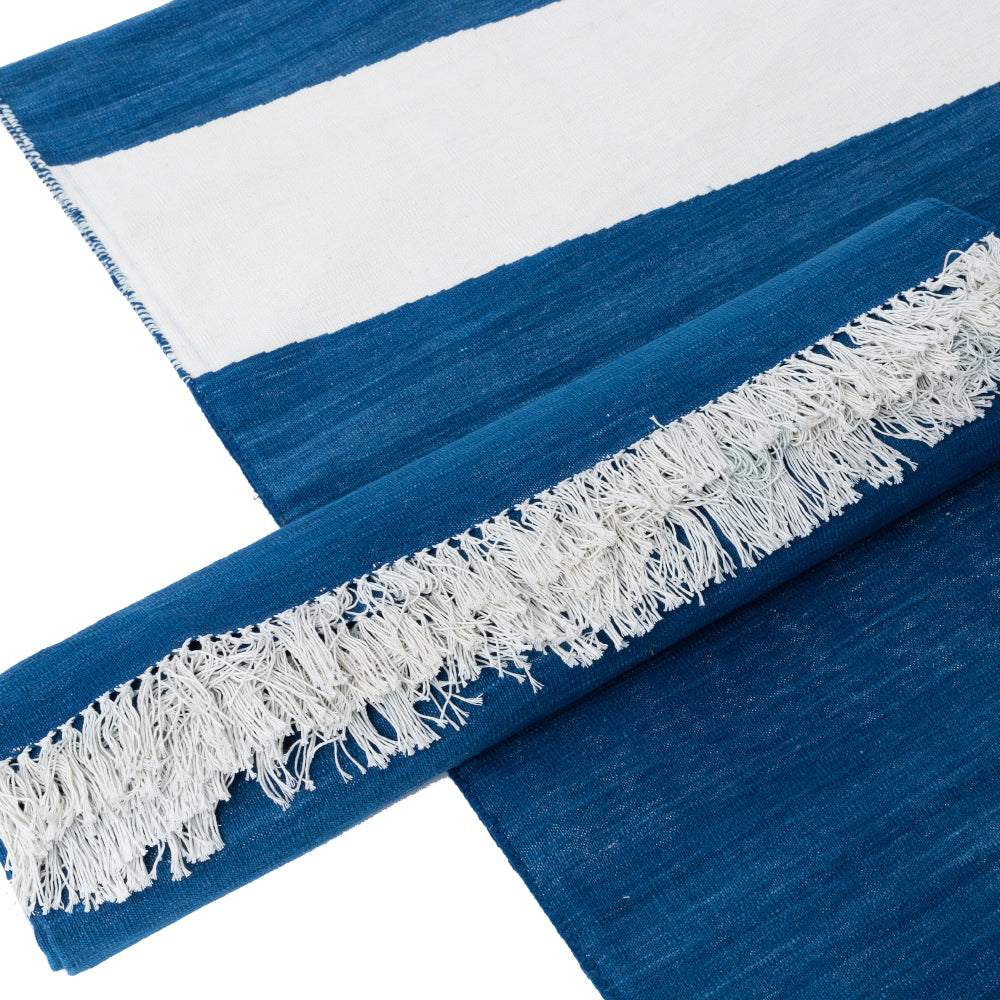 BLUE AND WHITE PANJA RUG